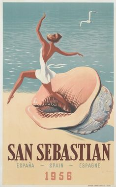 1956 - Spain vintage travel poster | San Sebastián, Guipúzcoa, Spanish Basque Country