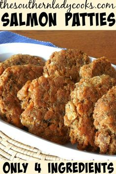 SALMON PATTIES The Southern Lady Cooks Old Fashioned Recipe is part of Salmon patties recipe - My twin daughters love these salmon patties Salmon Patties is one of the most viewed recipes on my site Your family will love this recipe Canned Salmon Patties, Fried Salmon Patties, Southern Salmon Patties, Canned Salmon Recipes, Salmon Croquettes, Fish Recipes, Seafood Recipes, Recipe For Salmon Patties, Easy Salmon Patties