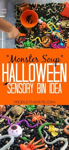 """This """"Monster Soup"""" Halloween Sensory Bin idea is the perfect activity for easy Halloween Party fun; to use in a classroom sensory table; or for exploring at home. This activity will entertain all ages - from toddlers to preschoolers to school age childre Halloween Activities For Toddlers, Halloween Crafts For Kids, Autumn Activities, Toddler Activities, Preschool Halloween Party, Preschool Halloween Crafts, Sensory Activities For Preschoolers, School Age Activities, Babysitting Activities"""