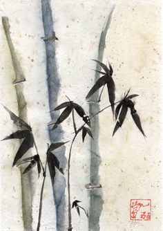 crinkled bamboo painting