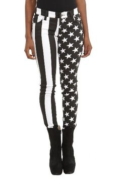 Royal Bones American Flag Split Leg Skinny Jeans: Amazon.com: Clothing