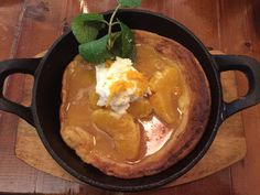 Red house shop and cafe, July 'Dutch Baby' pancake, an oven baked puff pancake served with ricotta cream and orange maple syrup. Puff Pancake, Dutch Baby Pancake, Oven Baked, Maple Syrup, Ricotta, Cream, Orange, Baking, Breakfast