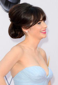 Wedding Hairstyle Idea:   Zooey Deschanel's Retro-Inspired Updo Hairstyle