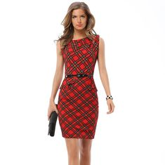 30e33c2e2260 Sexy and elegant fashion women wearing sleeveless large size lattice dress  pencil Send the belt Plus