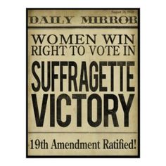 Historical Newspaper Headline, Suffragette Victory Poster