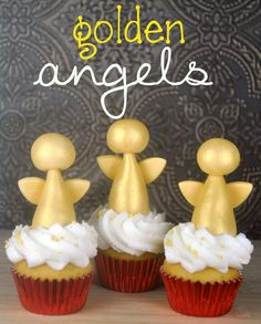 How to make Golden Angel Cupcake Toppers #cupcakedecoration