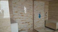 White mosaic onyx feature wall