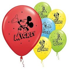 Our latex balloons are a very high quality that can handle helium and hi-float. This package contains 6 balloons that inflate to in diameter. Each balloon is yellow, red, light blue or lime green Mickey Mouse Bday, Mickey Mouse Clubhouse Birthday, Mickey Party, Mickey Mouse Birthday, Latex Balloons, Helium Balloons, Girl First Birthday, Party Stores, 1st Birthdays