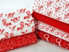 Fat quarter fabric bundle - 100 % cotton - cute chicken fabric - white deep red
