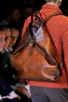 Oversized leather backpack