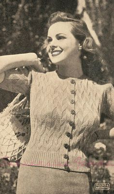 free vintage knitting pattern 1940s 40s 36 bust wwii ww2 australia patons cardigan