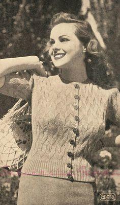 free vintage knitting pattern 1940s 40s 36 bust wwii ww2 australia patons cardigan