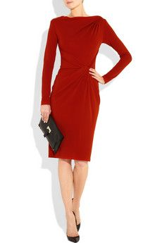 michael kors twisted stretch-jersey dress in crimson