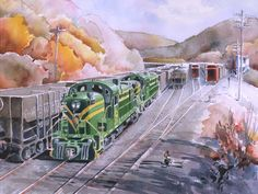 Central New Jersey ALCO RS-3 #1554 . watercolor illustration