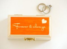 Forever and Always ring box. Customizable with your colors and message. Available at Little Wee Shop on Etsy