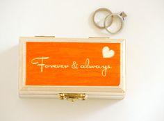 Forever & always, Wooden Ring Bearer box - Wedding ring bearer pillow - Keepsake Box - Ring Box. Found at Little Wee Shop: https://www.etsy.com/shop/LittleWeeShop