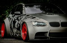 Liberty Walk BMW M3 wrapped in 3M 1080 mattte metallic grey aluminium, printed with a bespoke designed pattern from our Signature Range