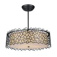 LNC Acrylic Semi Flush Mount Ceiling Lights 3-Light Drum Ceiling Light