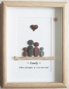 C'est un beau petit galet Art encadré photo d'une petite famille fait à la main par mes soins à l'aide de galets, bois flotté et coeur en bois Taille de l'image y compris cadre: environ 22 cm x 17 cm Cette image est uniquement disponible comme indiqué sur la Photo Merci de votre visite