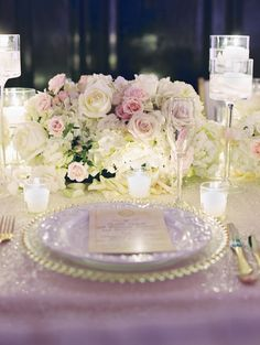 Low Wedding Centerpieces Featuring Hydrangeas And Roses I Elle Ellinghaus Designs