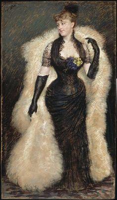 Portrait de Madame Beale, by James Jacques Joseph Tissot (French, Victorian Art, Victorian Fashion, Vintage Fashion, Vintage Outfits, Belle Epoque, James Joseph, Beaux Arts Paris, French Artists, Woman Painting
