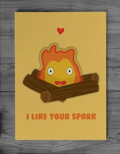 Studio Ghibli Calcifer Greeting Card by DoodleDuckDesigns on Etsy, £2.50