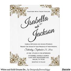 White and Gold Ornate Design Invitation