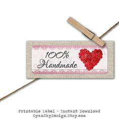 Handmade With Love DIY Printable Sticker Label by CyanSkyDesign #handmade #love #etsy #marketing #smallbusiness #craft