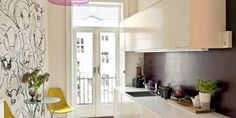 Kjøkken  Burgunder, aubergin, Marimekko, Eames Marimekko, Eames, Kitchen Cabinets, Wall, Furniture, Home Decor, Decoration Home, Room Decor, Cabinets