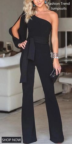 Stylish One Shoulder Slit Sleeve Jumpsuit Stylish One Shoulder Slit . Read more The post Stylish One Shoulder Slit Sleeve Jumpsuit appeared first on How To Be Trendy. Look Fashion, Fashion Outfits, Womens Fashion, Fashion Boots, 50 Fashion, Fashion Styles, Fashion Brands, Elegante Jumpsuits, Mode Pop
