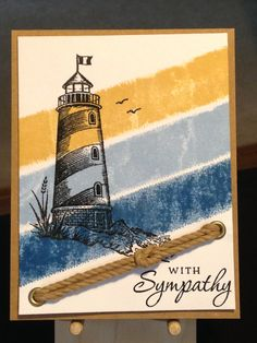 Sympathy Card - Stamps:  Stapabilities Beacon of Light, Stampin' Up Chalk it Up To Love - Versafine Onyx Black Ink - Ranger Clear Embossing Powder - Stampin' Up Inks:  So Saffron, Bashful Blue, Pacific Point - Stampin' Up Kraft Rope Trim - Inspiration: http://stampingupnorthwithlaurie.blogspot.ca/2013/08/stampin-up-masking-tape-cards.html