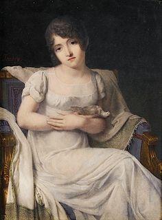 Jean-Baptiste ISABEY Nancy, 1767 - Paris, 1855 PORTRAIT DE JEUNE FEMME A L'OISEAU peinture sur ivoire