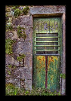 Green Door ~ Part of old farm buildings at the Barns of Claverhouse, Dundee. My kind of DOOR! Cool Doors, Unique Doors, Portal, Door Knockers, Door Knobs, Farm Door, When One Door Closes, Grades, Door Gate