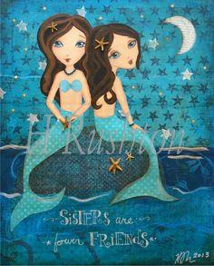 Mermaid Sisters Art- Mermaid Wall Art-- Kids Mixed Media Art- Childrens Art Print- 8x10 and 5x7- Mermaid Decor on Etsy, $14.00