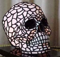 Stained Glass Skull Lamp