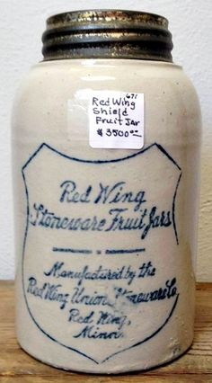 Red Wing Union Stoneware Company Quart Shield Fruit Jar 671 | Prock's Crocks and Antiques  (look at that price tag!!! Lol)