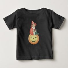 Cute Smiling Jack O Lantern Witch Black Cat Baby T-Shirt - vintage gifts retro ideas cyo