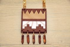 Aztec necklacegeometric necklacewood by babushkajewelry on Etsy