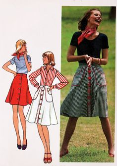 1970s Skirt Flared Button Front with BIG Pockets in 3 Lengths Simplicity 6778 Vintage RETRO 70s Sewing Pattern Size 10 by sandritocat on Etsy