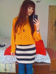 Blouse, Vintage  Skirt, H  Necklace, Bonbi Forest  Tights, New Look