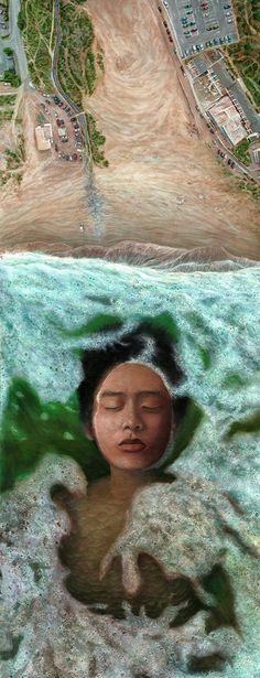 Deep Sleep | 60 x 150 cm | Acrylic Paint, Oil Pastel, Watercolour Pencil and Ballpoint Pen On Hardboard | ® Krzysztof Polaczenko 2016
