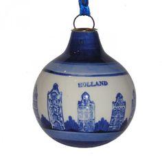 KERSTBAL HUISJES DELFTS BLAUW 8 CM - Holland cadeaus - Holland Souvenir Shop