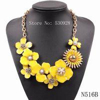 2015 nuevo estilo del envío libre de la joyería collar de flores de esmalte color de la primavera cadena de eslabones de oro de lujo elegante de moda con diamantes de imitación