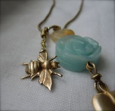 Amazonite Leaf & Bee Trinket Necklace by StellaMargaritis on Etsy, $45.00 On Set, My Etsy Shop, Bee, Jewelry Making, Canada, Drop Earrings, Trending Outfits, Unique Jewelry, Handmade Gifts