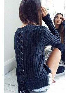 Dark Blue Lace Up Back Eyelet Ribbed Long Sleeve Pullover Sweater 3d45b2090