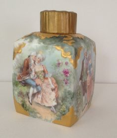 Antique Hand Painted Porcelain Tea Caddy From M. Redon, Limoges, France   c.1890's