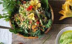 Dahl Inspired Sprouted Salad with Coriander, Mint and Sunflower Seed Dressing from The Wooden Spoon via golubka: This salad combines many of the same ingredients (including the spices) used in a dahl but entirely raw and sprouted. #Salad #Sprouts #Dahl