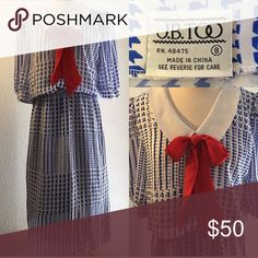 """🌹Vintage Dress 🌹 💙🌹Cute Blue & White Dress w Red Bow 💙🌹Size: 8 Bust: 36-38"""" Waist: 32-36"""" (Elastic Waist) Length: 43"""" Hips: 40"""" Material: Polyester Vintage Dresses Midi"""
