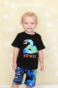 Boy Space Planet Birthday Shirt with Embroidered by SunbeamRoad