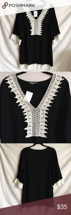 "Black Crochet Coverup/Dress - BNWT Brand new black coverup/dress with cream crochet lining. Can be worn as a coverup for swimming suit or worn as a dress. Runs big so it can fit up to size large even though tag says size medium. Length of dress is 35"". Pit to pit is 22"" and length of sleeve is 18"". From shoulder to shoulder is 18"". 100% Rayon. Brand new with tags. Excellent condition! West Kei Dresses Long Sleeve"
